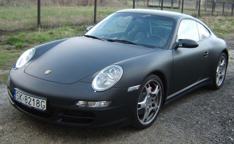 Zmiana Koloru Auta Porsche Folia Czarny Mat