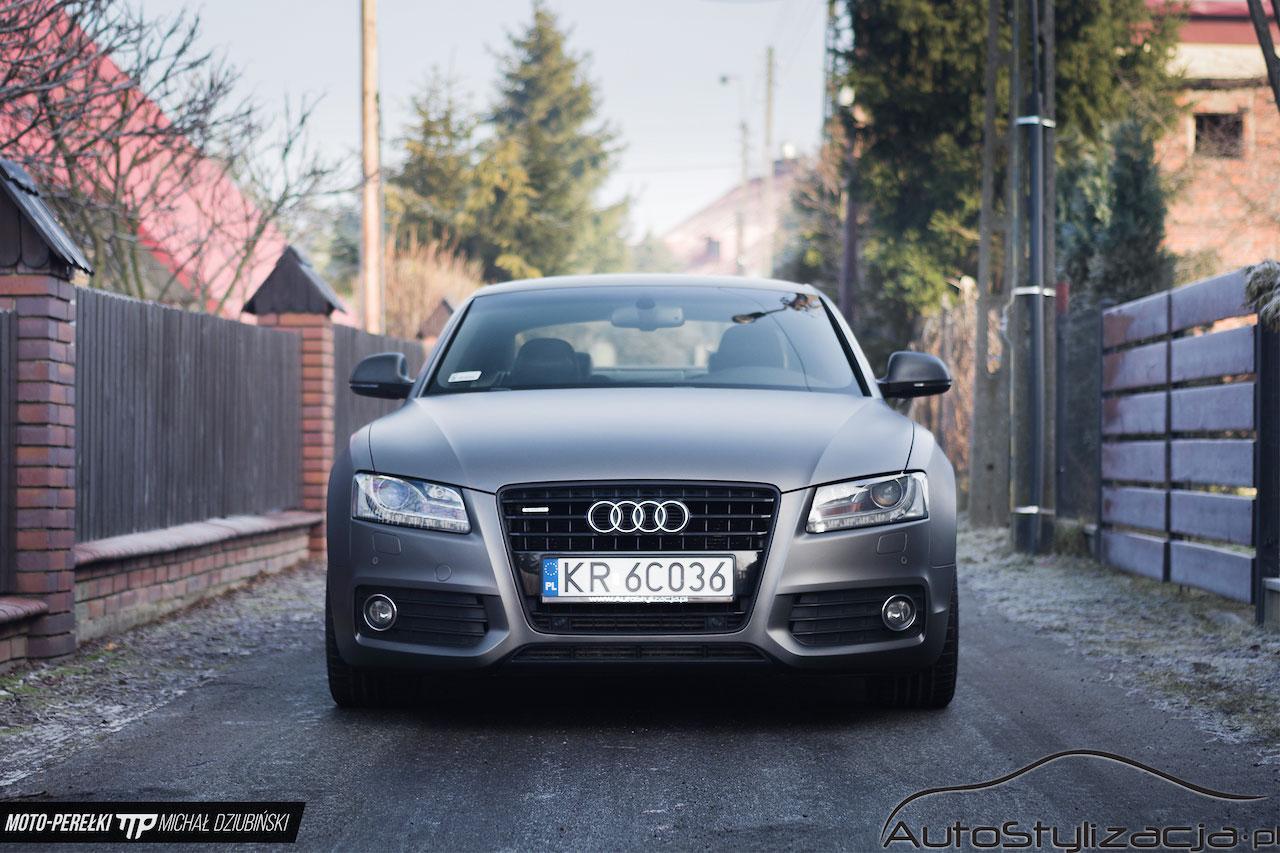 Oklejanie Audi A5 Folią Szary Mat Metalik