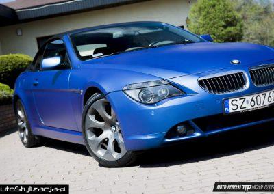Wyklejanie Samochodu BMW 6 E64 Folią Niebieski Mat Metalik