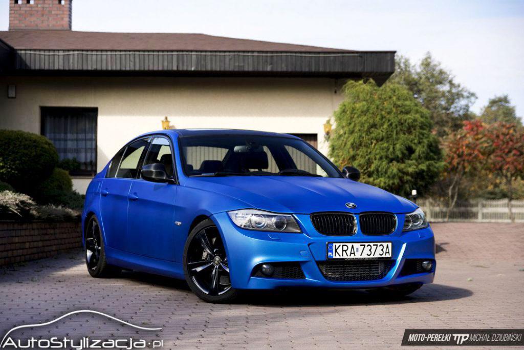 Oklejanie BMW 3 E90 Folia Niebieski Mat Metalik