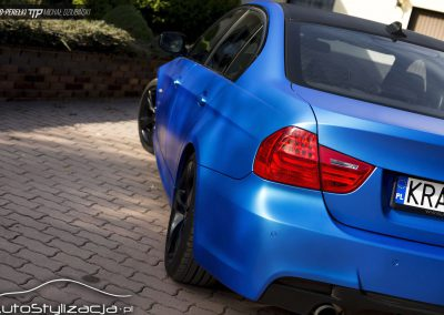 BMW 3 E90 Folia Niebieski Mat Metalik