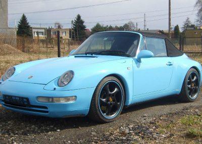 Oklejanie Lakieru Auta Porsche 911 Folią Błękitny Połysk