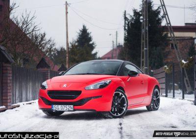 Zmiana Koloru Samochodu Peugeot RCZ Folią Czerwony Mat