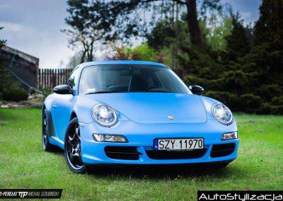 Foliowanie Karoserii Samochodu Porsche 911 Niebieski Mat